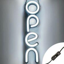 Vertical Led Neon Open Sign Light for Business - White