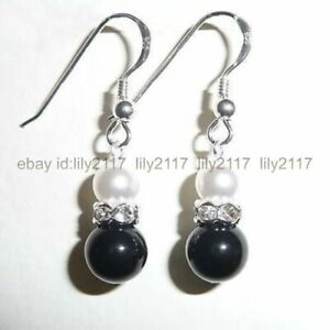Pretty! 12mm Black Agate & 8mm White Shell Pearl Silver Hook Dangle Earrings AAA