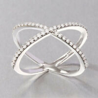 Women Beauty 925 Sterling Silver Criss Cross CZ Micro Pave Setting X Ring