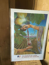 Vintage French Original Wine Region Tourism Advertising Poster