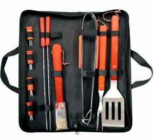 PRIMA BBQ 11Pc BBQ Tool Set & Bag - Stainless Steel Barbecue Cooking Utensils