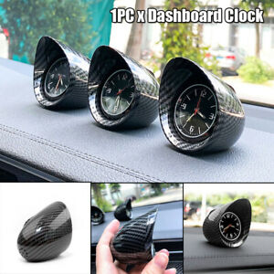 1PC Car Dashboard Clock Carbon Fiber Automotive Black Backlight Light Universal