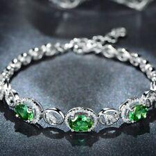 Charm 925 Sterling Silver Emerald Birthstone Leaf Bracelet Women Fashion Bangle