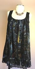 VIVIENNE TAM Dress Top Tank sz XS 0-2 black Long Lined Abstract Scalloped  Blue