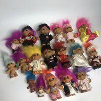 """Lot of Vintage Troll Dolls- 3"""" Inch Russ Ace Chicken Wedding Gypsy Etc.."""