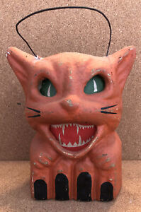 Vintage 1940's Halloween Orange Cat Paper Mache Jack O lantern Pulp Antique