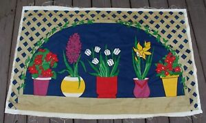 Vtg 1977 70s Domus Textiles Shelley Winsor Wall Hanging Fabric Flower Pot Window