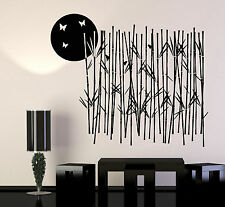 Vinyl Wall Decal Bamboo Grove Tree Moon Butterfly Nature Stickers (1332ig)