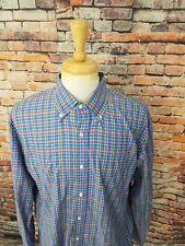 NWOT $195 Bergorf Goodman ITALY Men's Blue Multi-Color Plaid Button Up Shirt XL