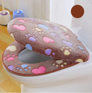 2pcs Comfortable Soft Warm Toilet Seat Cover Waterproof Multicolor Bathroom Lid