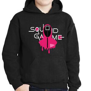 Squid Game Soldier Hoodie Tv Show Halloween Horror Kids Pullover Jumper Gift