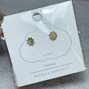 BN Estella Bartlett Gold Plated CZ Spring Daisy Floral Stud Earrings Ideal Gift