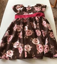 2T Beautiful Fancy Girls Dress FAO Brown Dress With Pink Roses 24 Months