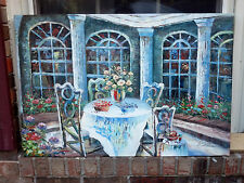 "OIL Painting-Outdoor Dining Impressionistic New/Texture-24""x36""WHIMSICAL/FUN"