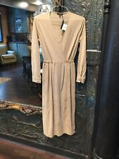 Massimo Dutti Women's Long Sleeve Wrap Dress Beige Size 6