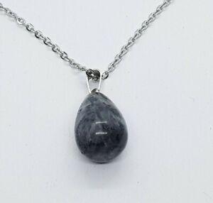 Black Tourmaline Necklace Waterdrop Pendant Reiki Black Spectrolite Silver Chain