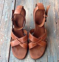 ENZO ANGIOLINI EAOZARIA BROWN LEATHER ANKLE CUFF COMFORTABLE HEEL SANDALS, 8 M