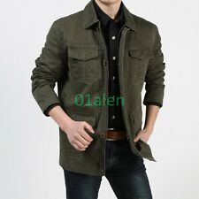 Fashion Spring Mens 100% Cotton Coat Botton Mid Zipper Frock Jackets US XS-XL