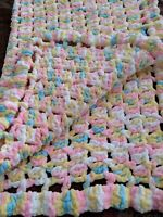 "Baby Girl Pink Blue Yellow Handmade Crochet Baby Blanket 35"" X 30"""