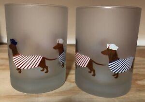 NEW Set of 2 Culver Dachshund Dog Sailor Stripe Hat Marine Frosted Glass 14 oz