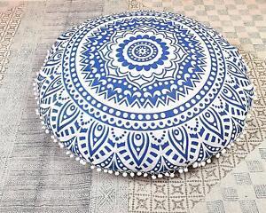 Blue Large Mandala Floor Pillows Round Bohemian Cushion Cover Ottoman Pouf