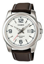 Casio MTP1314L-7A Men's Enticer Leather Band 50M White Dial Casual Analog Watch