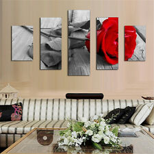 5Pcs Modern Wall Art Picture Red Rose Oil Painting On Canvas Home Decor No Frame