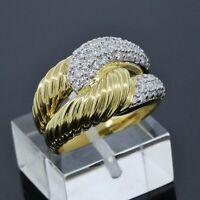 David Yurman 18K Yellow Gold Labyrinth Pave Diamond Ring Size 5.75