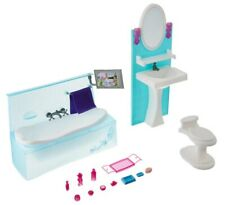 Bathroom for Barbie Dollhouse Green Furniture Accessories with Tub Dresser