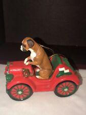 Porcelain Danbury Mint Boxer Christmas Ornament Dog Figurine Rockin Roadster