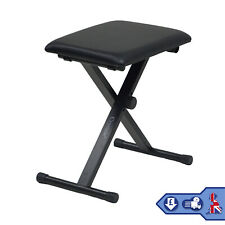 More details for piano keyboard stool/chair/bench black padded seat cushion adjustable height