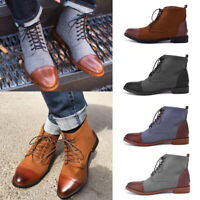 Mens Spring Fashion Martin Leather Boots Leisure Male High-top Casual Shoes