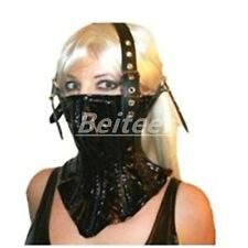 Black Lacing Leather Neck Corset Head Harness Posture Collar Muzzle Restraint SM