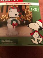 PEANUTS SNOOPY AIRBLOWN INFLATABLE 5 FT. TALL LIGHTS UP INDOOR OR OUTDOOR USE NE