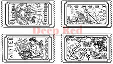 Deep Red Rubber Cling Stamp Vintage Holiday Tickets Santa Peace Winter