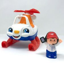 Fisher Price Little People HELICOPTER and PILOT travel plane town