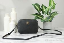Tory Burch (78548) Large Black Pebble Leather Logo Round Crossbody Camera Bag