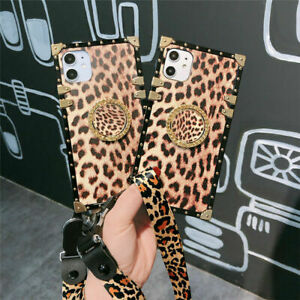 Leopard Square Luxury Ring Stand Lanyard Case Cover For Samsung Note20 S10+ A51