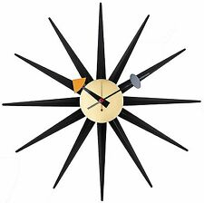 Handmade Antique Retro Wall Sunburst Clock, Designed by George Nelson,Black Gold