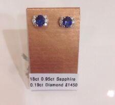 RRP£1450 18ct White Gold Danti Cenci .95ct Sapphire& .19ct Diamond Stud Earrings