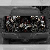 Skulls with Gun Truck Tailgate Wrap Vinyl Full Color Graphic Decal Sticker T51