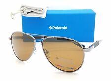 NEW Polaroid sunglasses PLD2000/S KJ1 58mm Dark Ruthenium Brown GENUINE Aviator