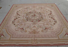 8' X 8' Antique Needlepoint Handwoven Floral Rug Rose Garland Pastel Pink Brown