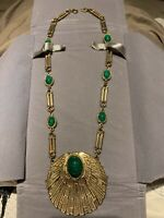 Vintage Accessocraft NYC Egyptian Revival green scarab necklace rare to find