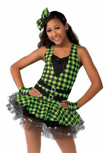 A Wish Come True Tear It Up Costume Size 11 12 Green Plaid Dance SS44