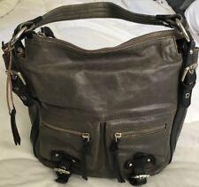 TANO Glazed Crinkled Grey/Black Leather Hobo Handbag Purse Bag-VERY NICE