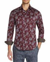 Tallia Sport Mens Shirt Red Size Medium M Button Down Floral Stretch $88 104