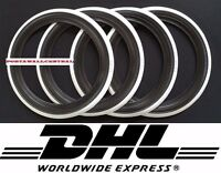 Vintage style15'' Black white wall port a walls tyre insert Set of 4.old school.