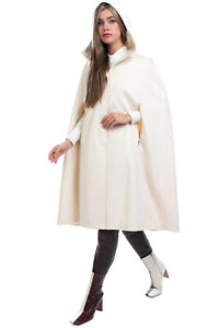 RRP €390 GIO' GUERRERI Wool Cape Coat Size S Fully Lined Full Button Hooded