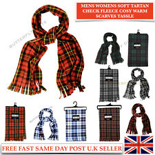 MENS WOMENS SOFT TARTAN CHECK FLEECE SCARF COSY WARM FLEECE SCARVES WITH TASSLES